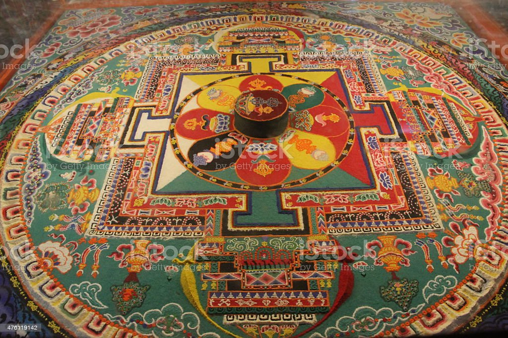 Buddhist sandpainting mandala sand art stock photo