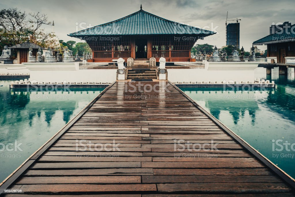 Buddhist Seema Malaka Temple. Beira lake. Colombo royalty-free stock photo