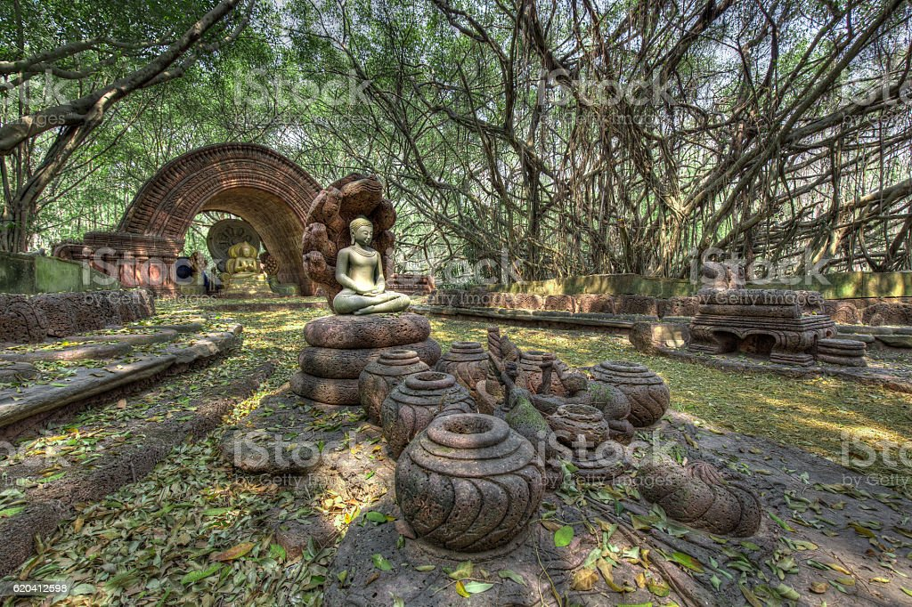 Buddhist shrine in the woods stock photo