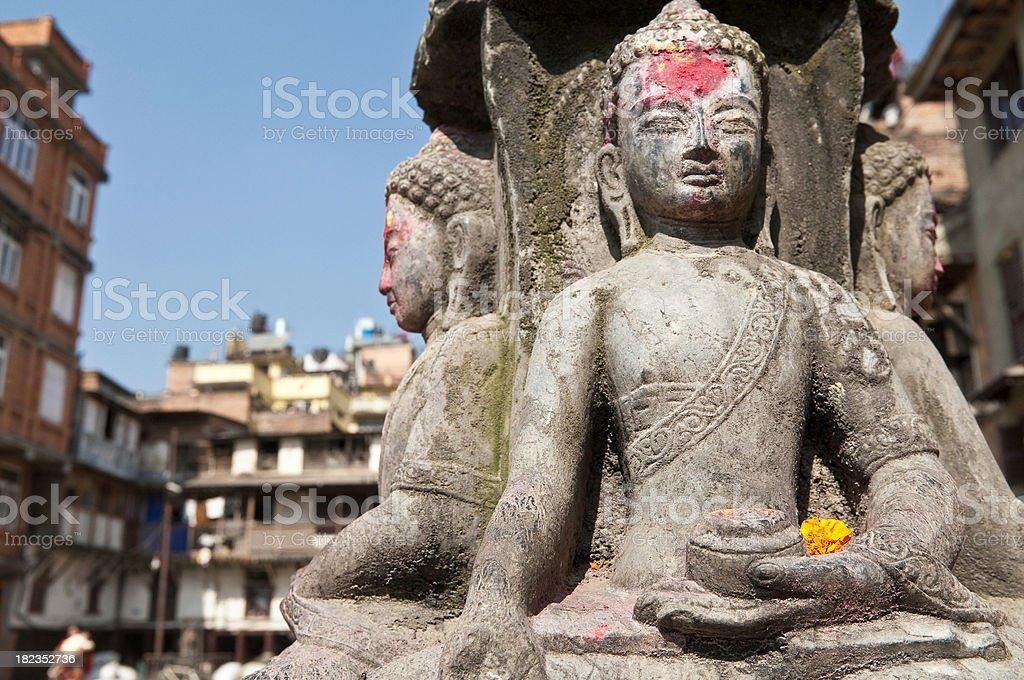 Buddhist shrine orange marigold flower Kathmandu Nepal royalty-free stock photo