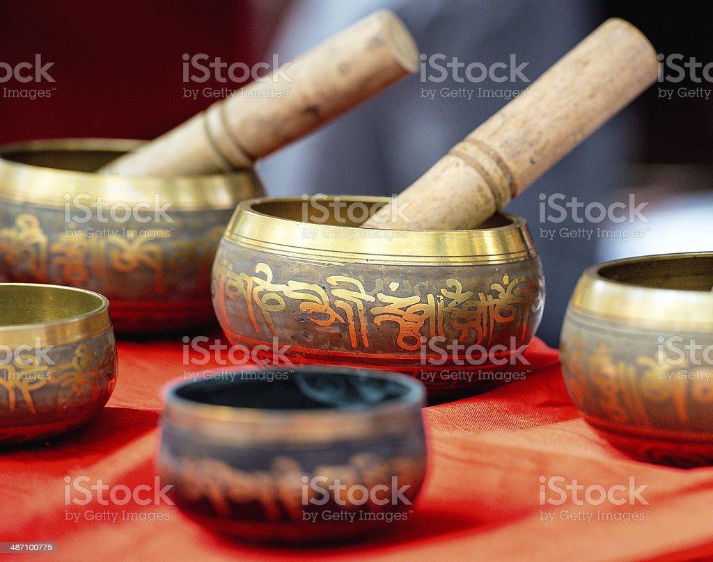 Buddhist singing bowl metall  vases group stock photo