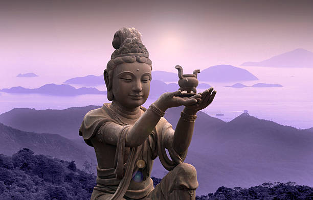 buddhist statue at po lin monastery - lantau island. - ancient stock photos and pictures