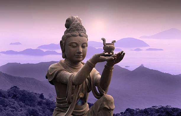 buddhist statue at po lin monastery - lantau island. - buddha stock photos and pictures