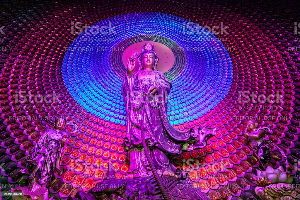 Buddhist statues in Lingyin Temple in Hangzhou, China stock photo