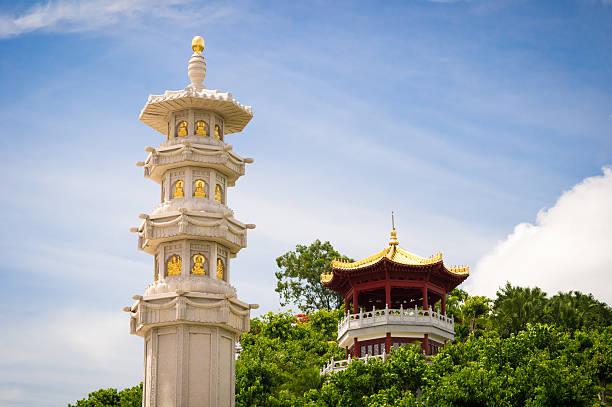 Buddhist Stone Pillar in Sanya Nanshan cultural tourism zone stock photo
