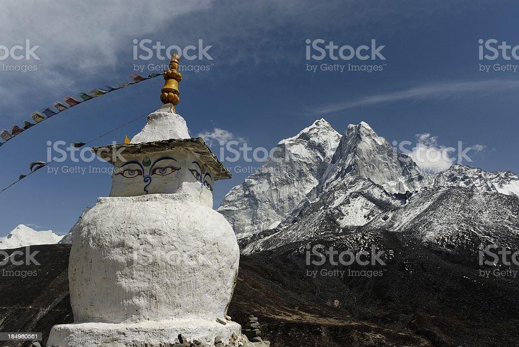 buddhist stupa and mountain royalty-free stock photo