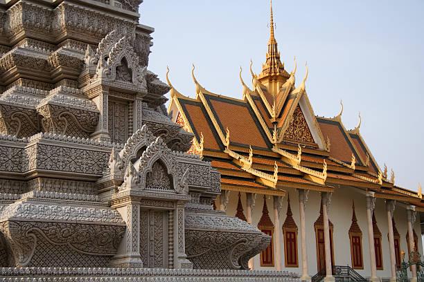 Buddhist Stupa and Silver Pagoda stock photo