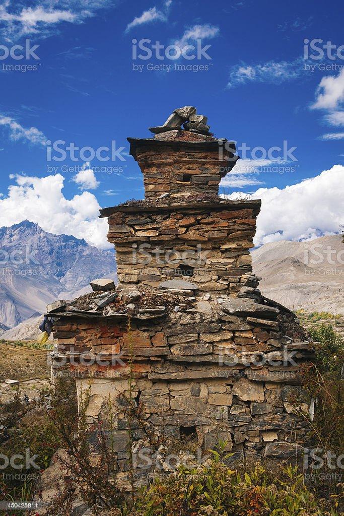 Buddhist stupa in remote part of Himalaya. stock photo