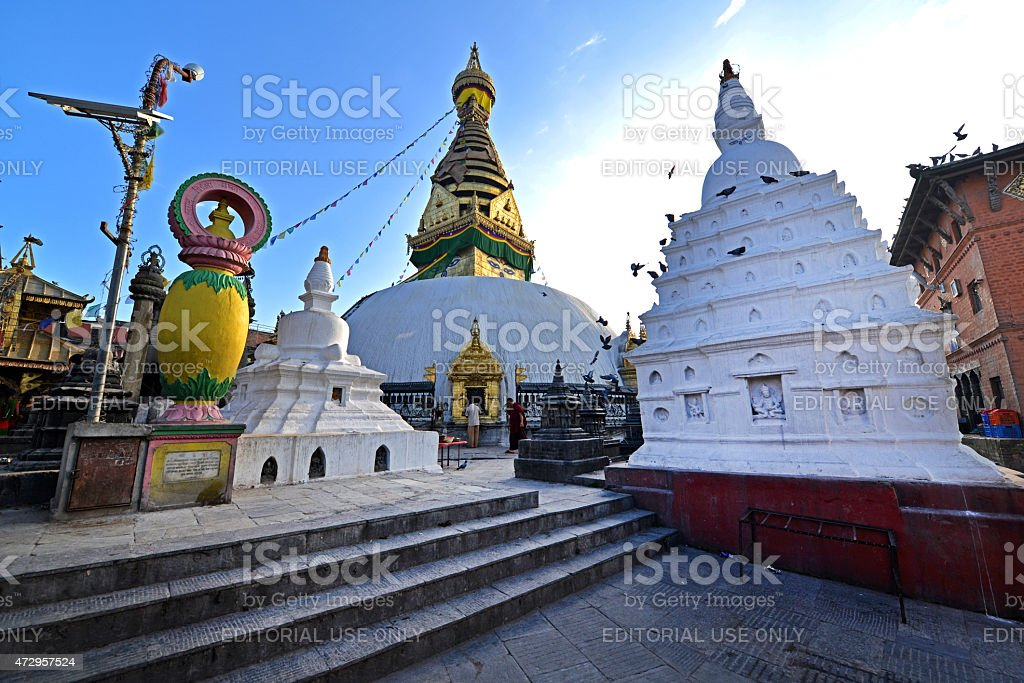 Buddhist stupa of Swayambhunath, Kathmandu before the earthquake stock photo