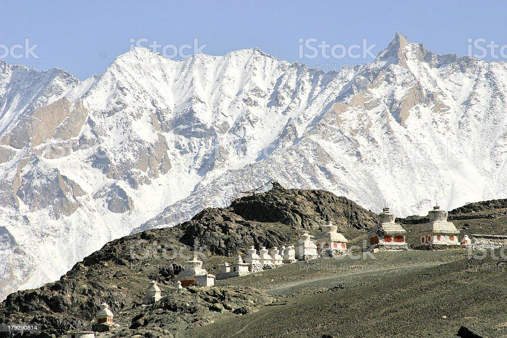 Buddhist stupas in the Himalayas (Ladakh, Kashmir, India) royalty-free stock photo