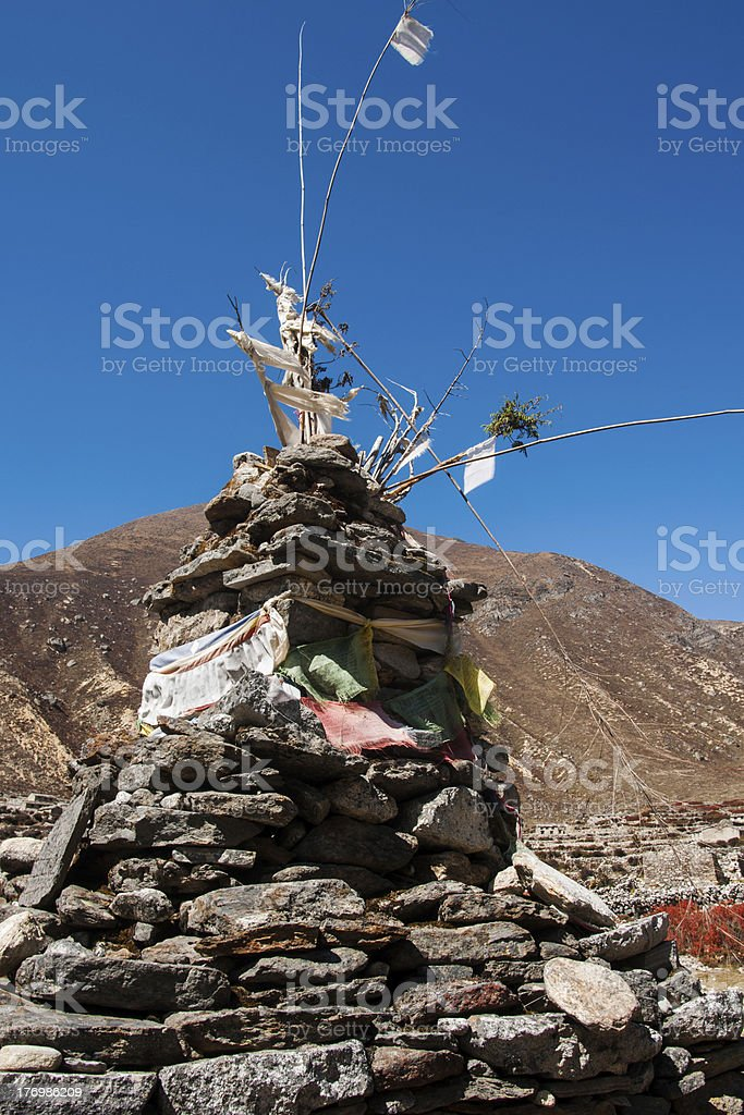 Buddhist stupe or chorten in Himalayas royalty-free stock photo