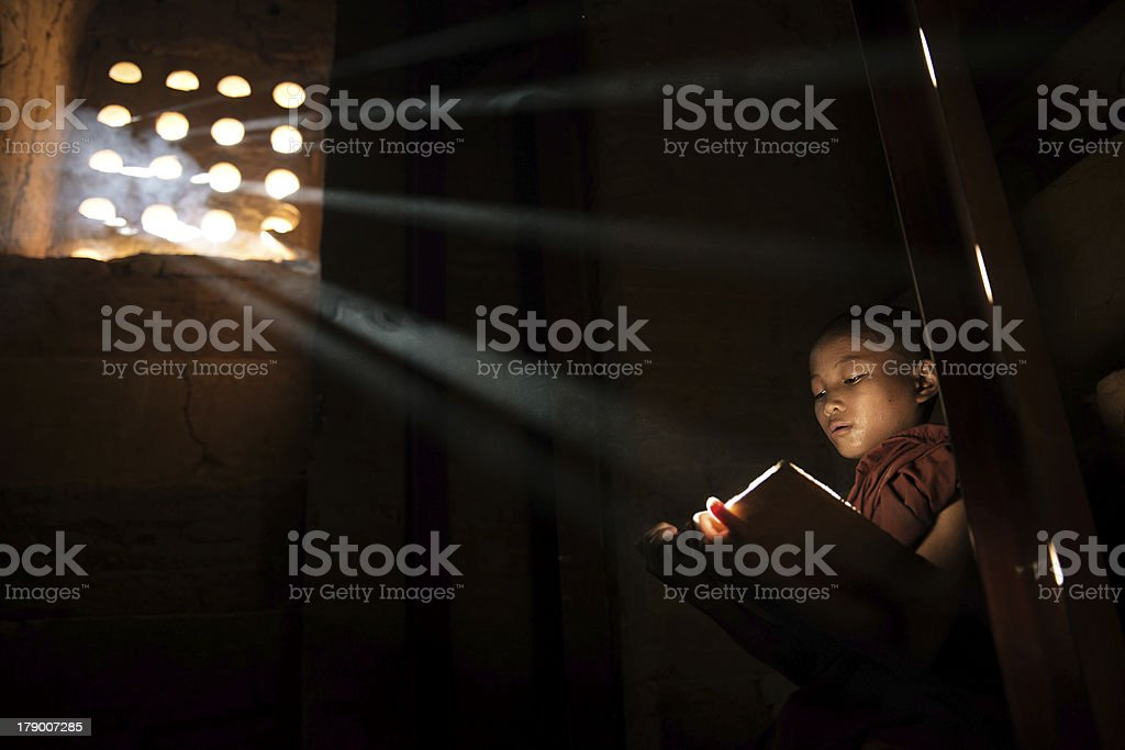 Buddhist teaching, Myanmar. stock photo