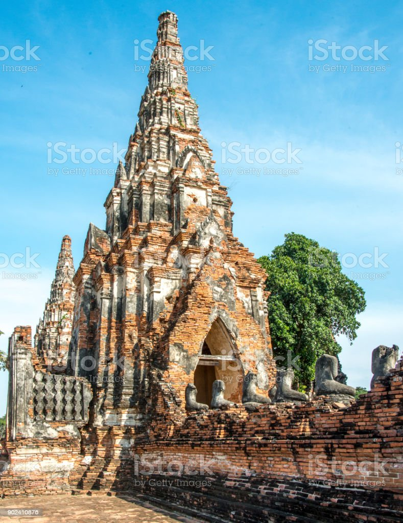 Buddhist temple at Ayutthaya Thailand stock photo