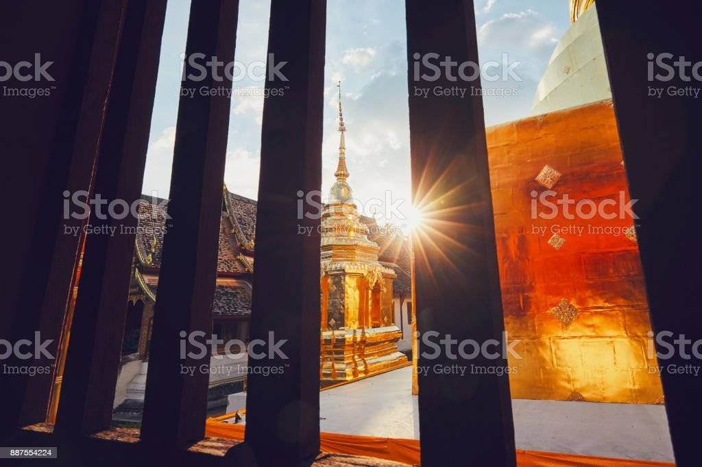Buddhist temple at the sunset stock photo