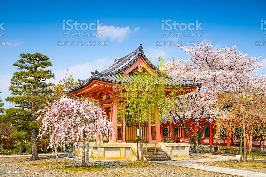 Buddhist Temple Bellhouse in Spring stock photo