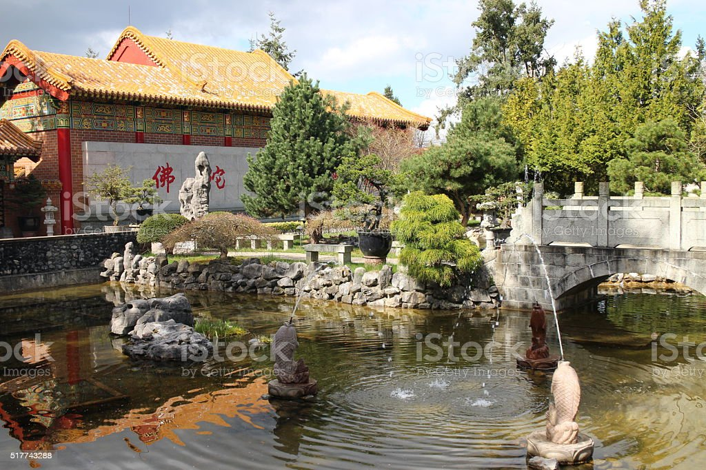 Buddhist Temple beutiful garden stock photo