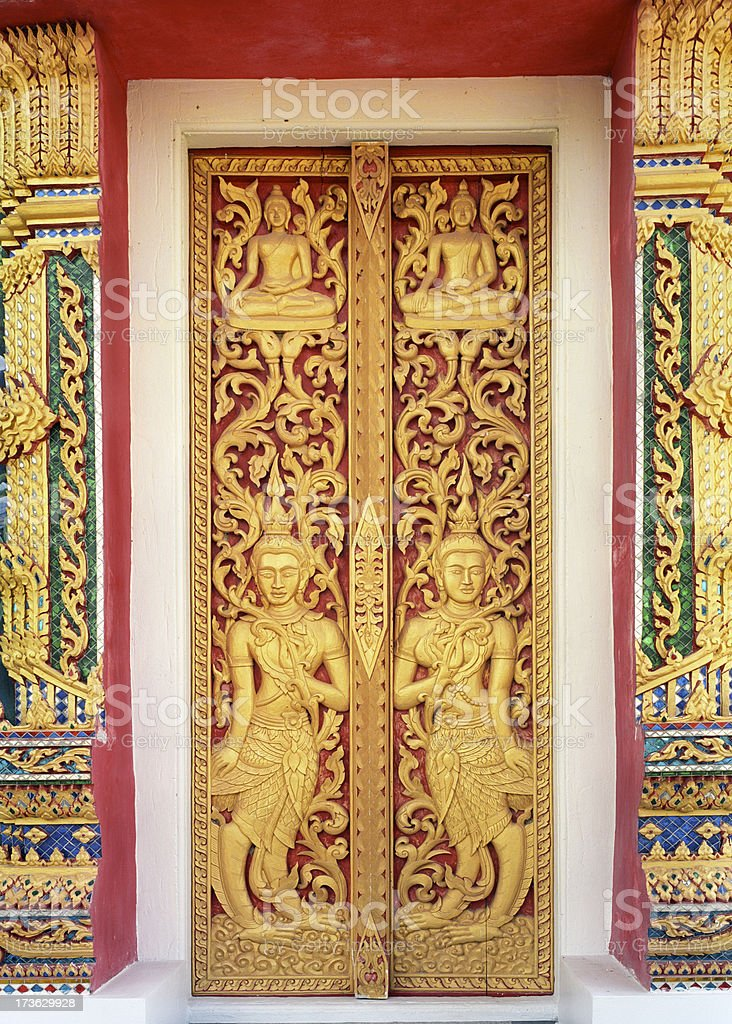 Buddhist temple doors royalty-free stock photo