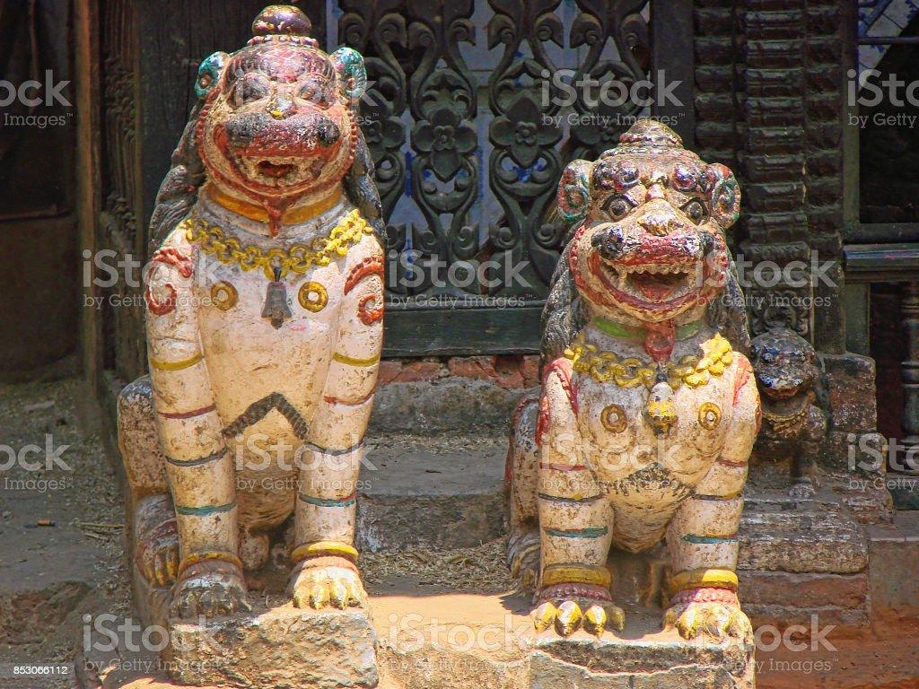Buddhist temple entrance in Kathmandu stock photo