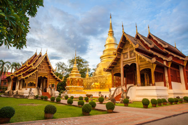 Buddhist temple in Chiang Mai Wat Phra Singh Woramahaviharn. Buddhist temple in Chiang Mai, Thailand. chiang mai province stock pictures, royalty-free photos & images