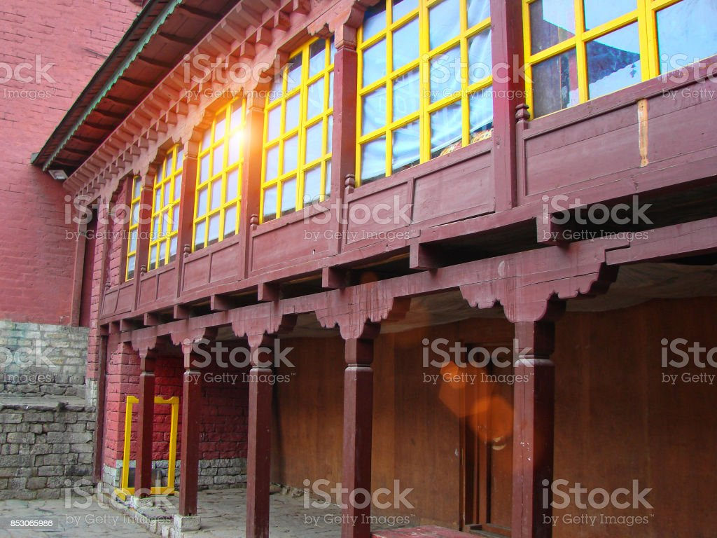 Buddhist temple in Himalayas stock photo