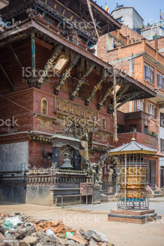 Buddhist temple in Nepal with pile of rubble royalty-free stock photo