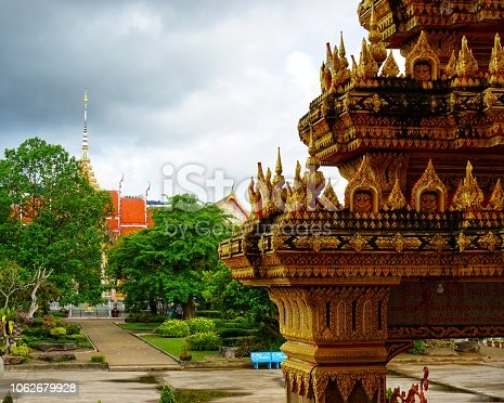 Buddhist temple in Thailand, the largest temple on the island of Phuket in the sea