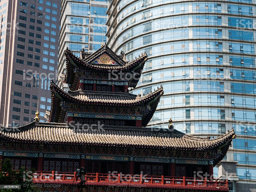 Buddhist temple in the city centre stock photo
