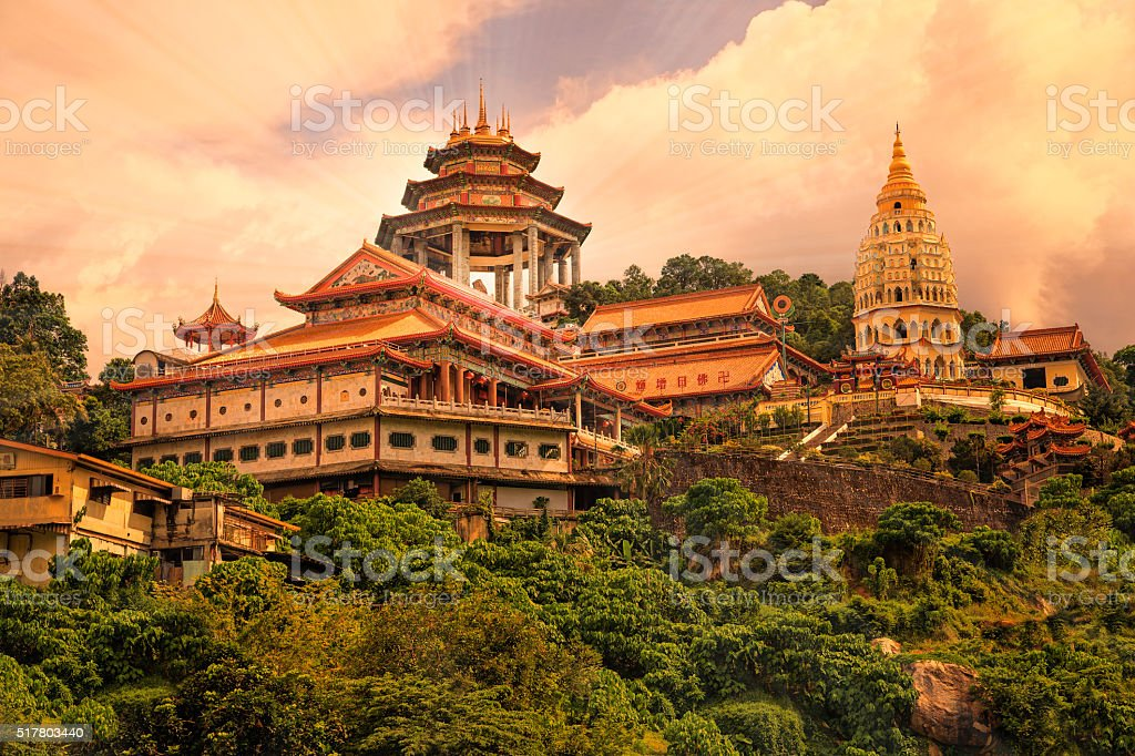 Buddhist temple Kek Lok Si in Penang stock photo