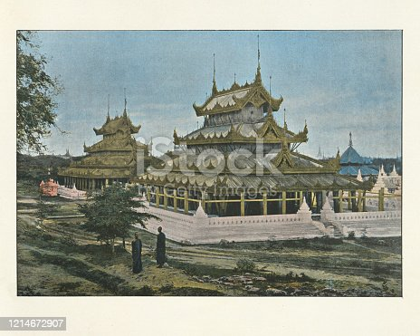 Antique colourised photograph of Buddhist temple, Mandalay, Burma. 19th Century.