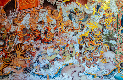 909806032 istock photo Buddhist temple mural painting art in Thailand 1073601030