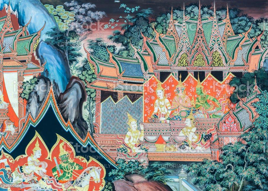 Buddhistische Tempel Wandmalerei Kunst in Thailand – Foto
