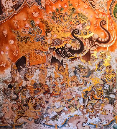 909806032 istock photo Buddhist temple mural painting art 908664914