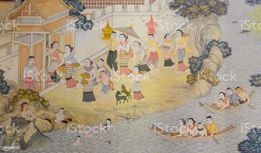 Buddhist temple mural painting in  Thailand royalty-free stock photo