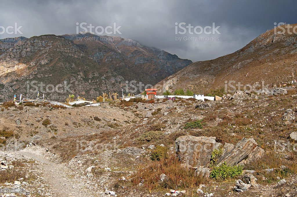 Buddhist temple on the distance in Muktinath, Nepal stock photo