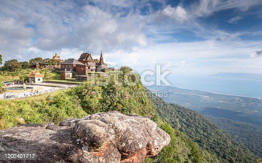 Buddhist temple Wat Sampov Pram Cambodia, Kampot Province, Bokor Mountain in Preah Monivong National Park