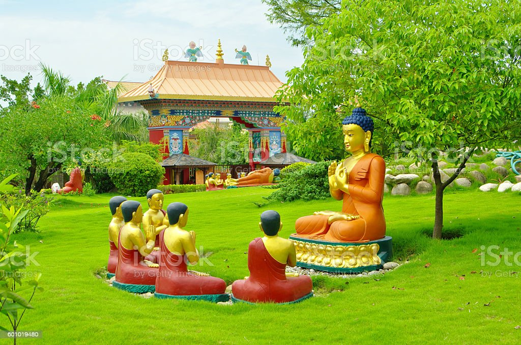 Buddhist temples of Lumbini, Nepal stock photo