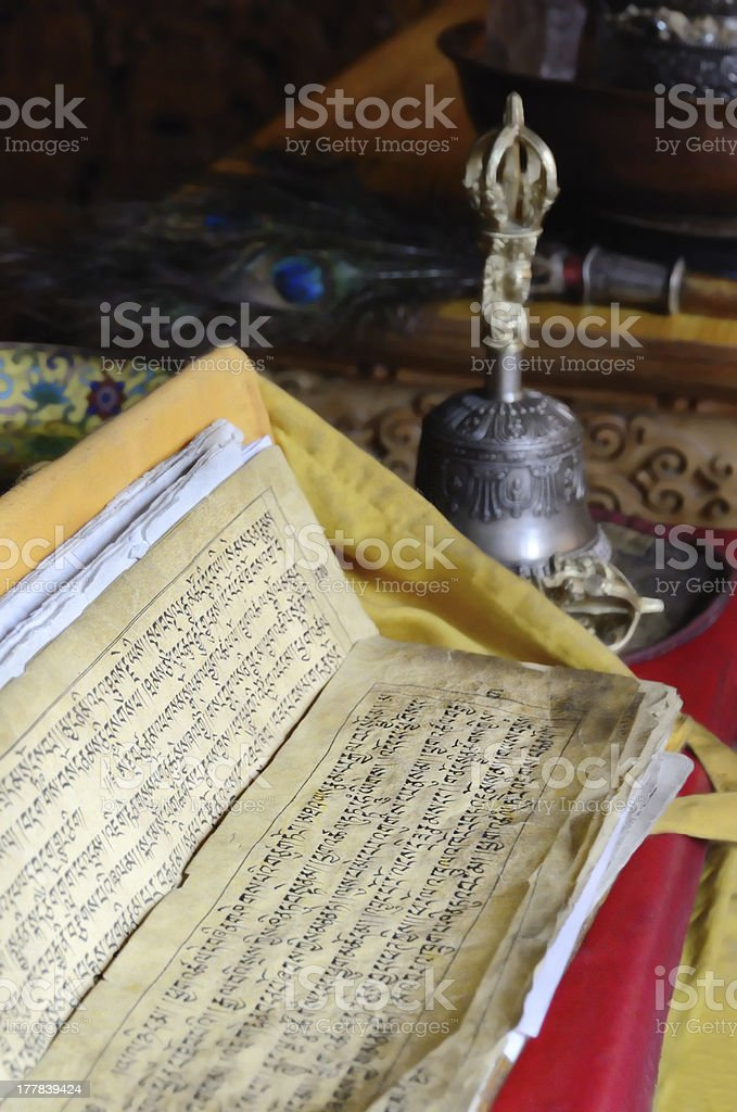 Buddhist text stock photo