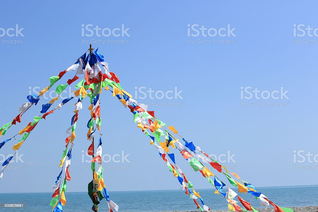 Buddhist tibetan prayer flags stock photo