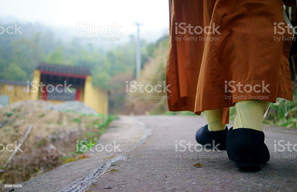 Buddhist walks on a rural path through a field stock photo