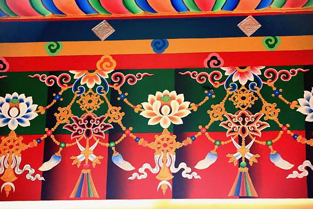 Pared de budistas decoración. Thrangu Tashi Yangtse monasterio de Nepal. 0985 - foto de stock