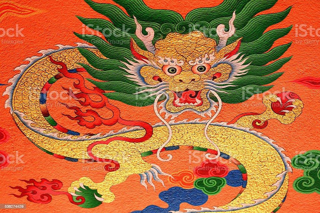 Buddhist wall decoration. Thrangu Tashi Yangtse Monastery-Nepal. 0986 stock photo