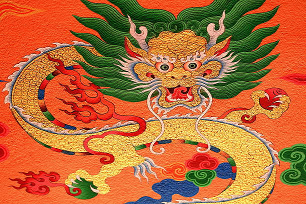 Pared de budistas decoración. Thrangu Tashi Yangtse monasterio de Nepal. 0986 - foto de stock