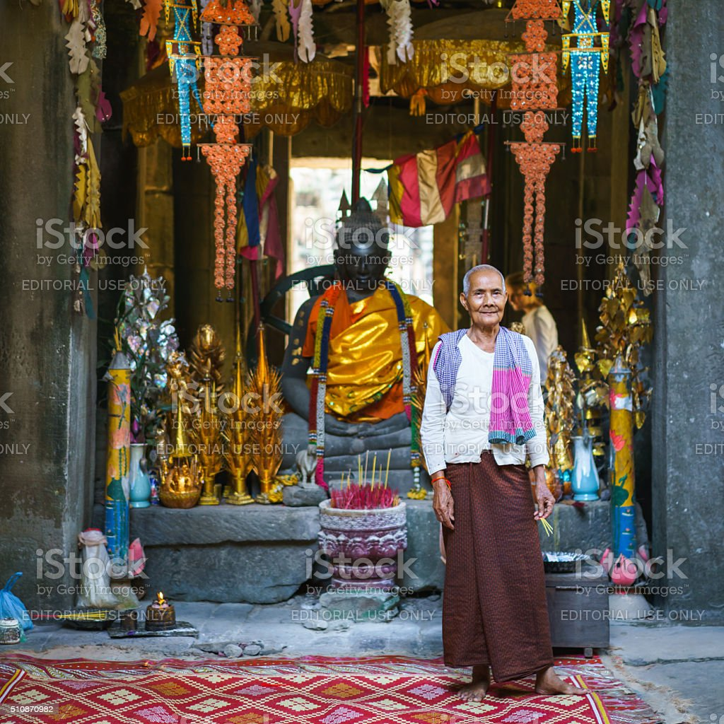 Buddhist Woman Banteay Kdei Temple Buddha Cambodia stock photo