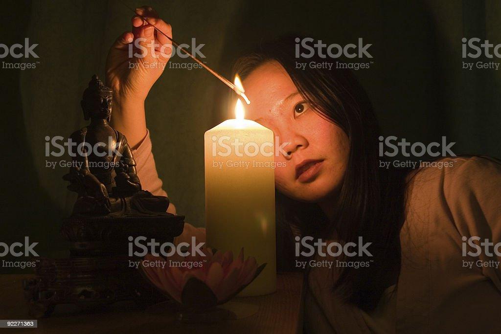 Buddhist woman praying royalty-free stock photo