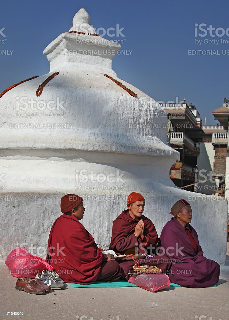 Buddhist Women Prayer stock photo