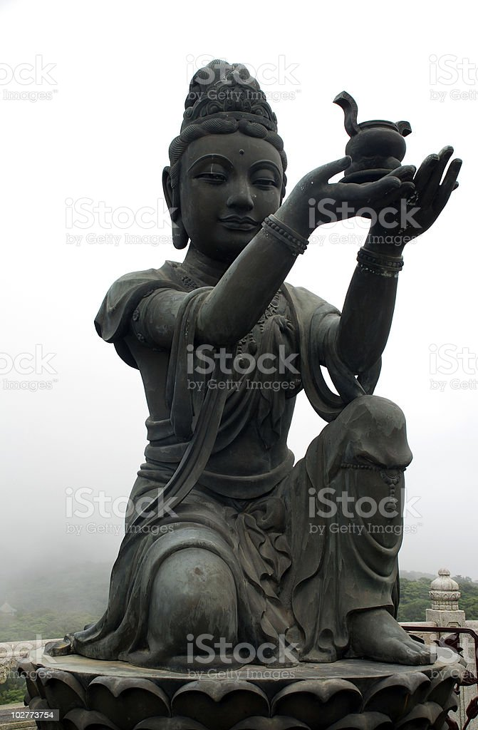 Buddhistic Statue  (Tian Tan Buddha) on Lantau (Hong Kong). royalty-free stock photo