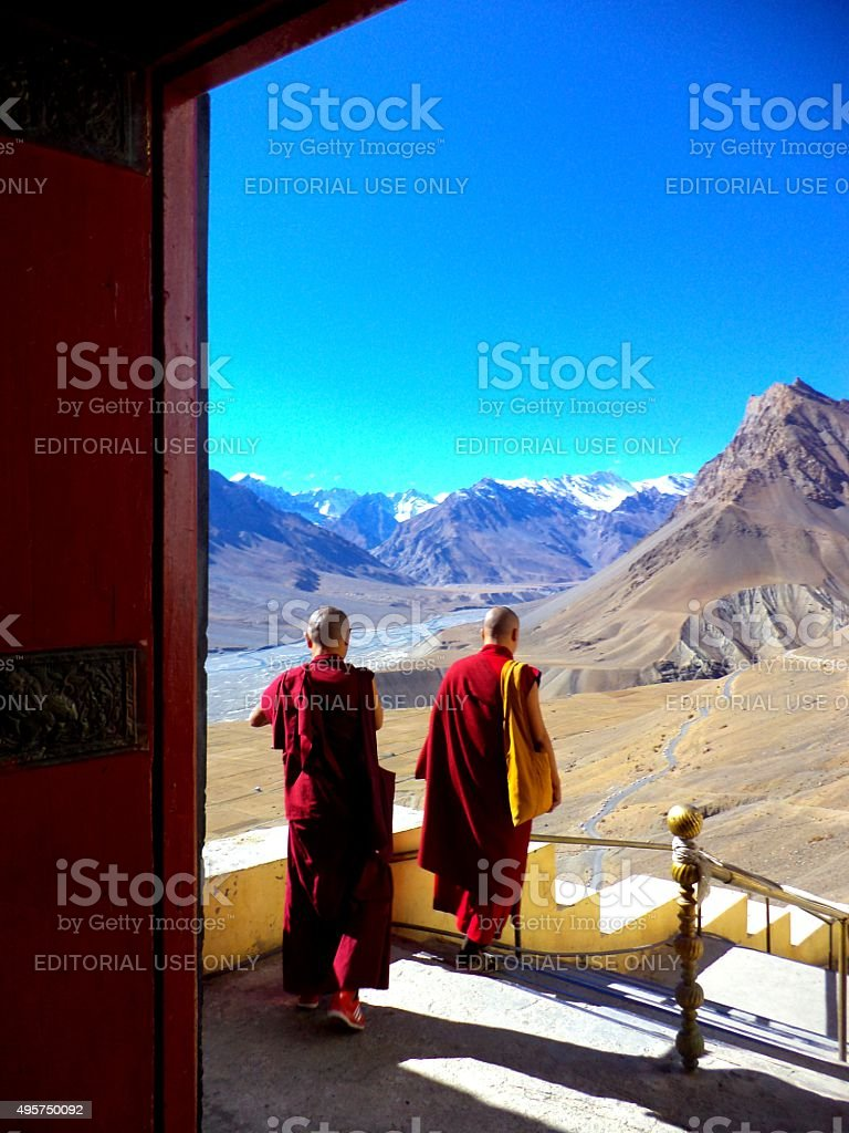 Buddhists monks in the Himalaya in India stock photo