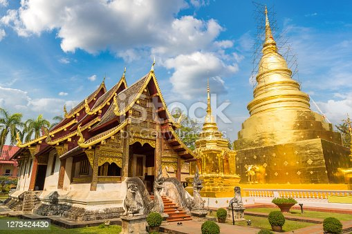 Wat Phra Singh - Buddhists temple in Chiang Mai, Thailand in a summer day