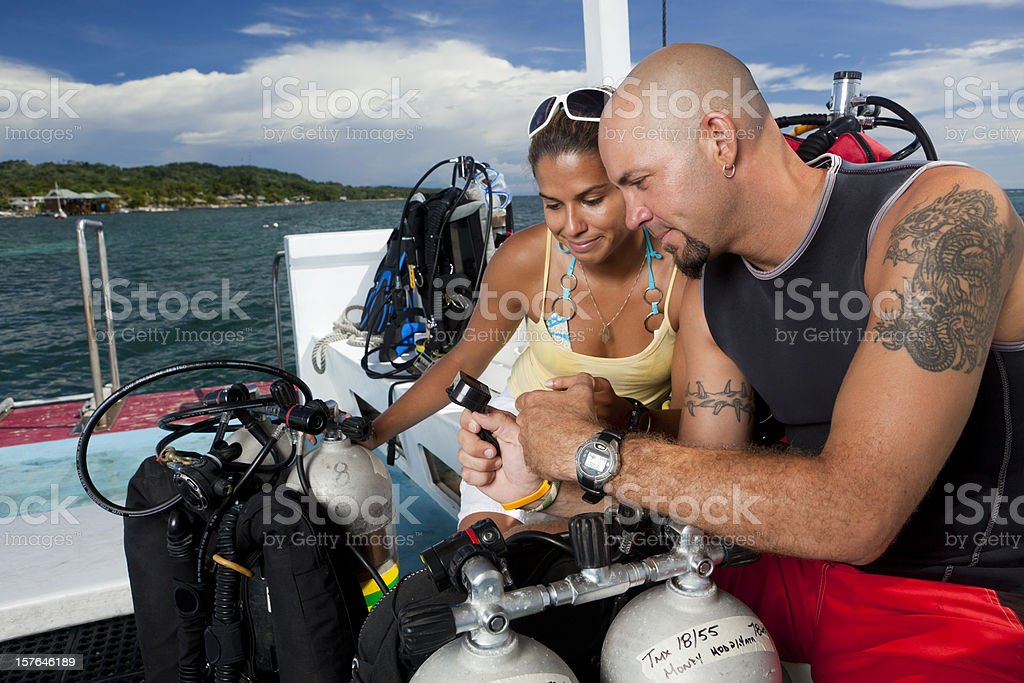 Buddies reviewing dive plan royalty-free stock photo