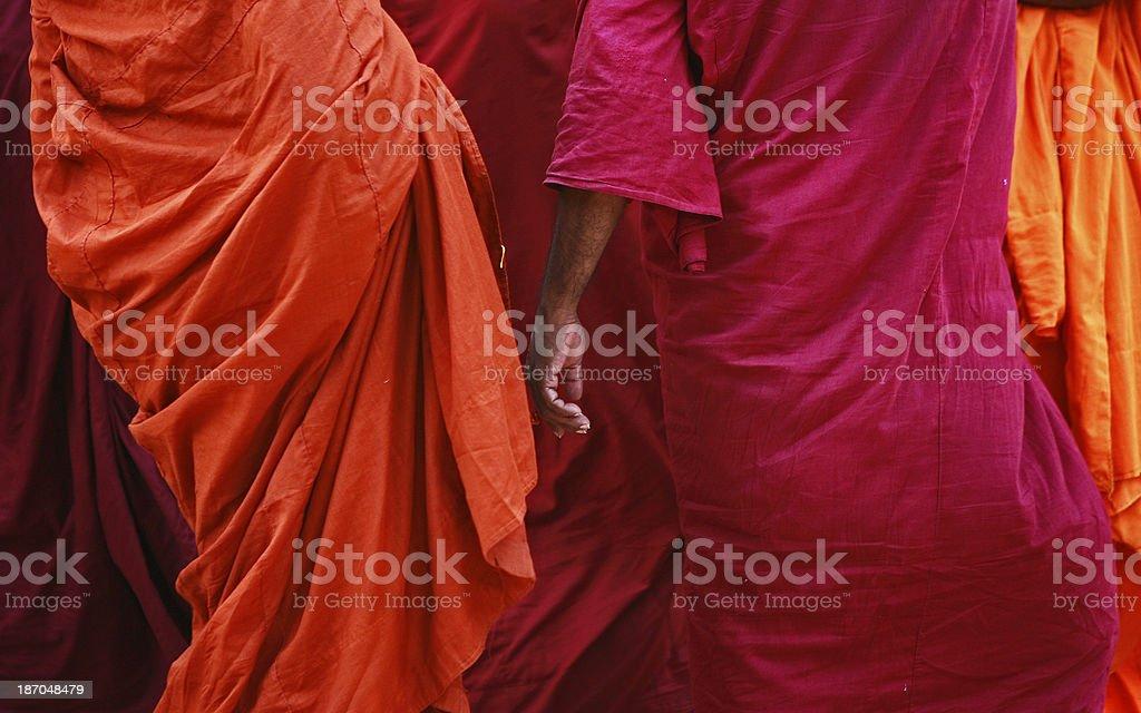 Buddihst Monks walk stock photo